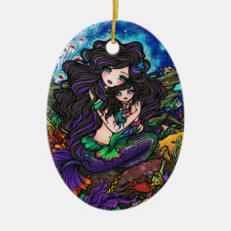 Mermaid Mom and Baby Underwater Art by Hannah Lynn Ceramic Ornament