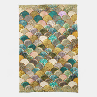 Mermaid Multi Color Glitter Glam Sea Scales Tea Towel