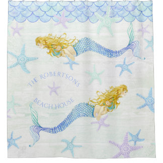 Mermaid n Starfish Family Name Beach House Decor Shower Curtain