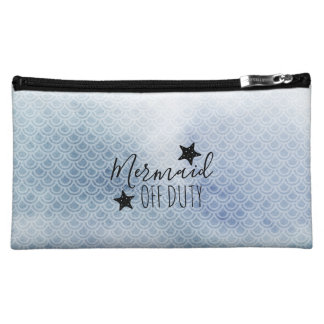 Mermaid Off Duty Blue Watercolor Cosmetic Bag