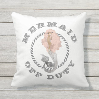 Mermaid Off Duty Girly Nautical Outdoor Cushion