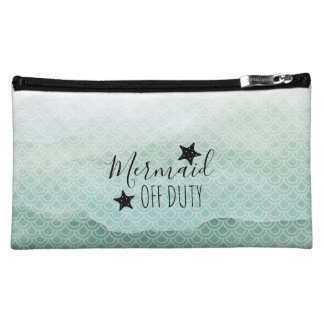 Mermaid Off Duty Green Watercolor Cosmetic Bag
