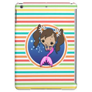 Mermaid on Bright Rainbow Stripes iPad Air Covers
