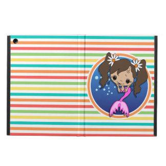 Mermaid on Bright Rainbow Stripes Cover For iPad Air