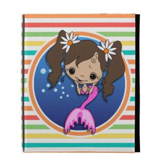 Mermaid on Bright Rainbow Stripes iPad Folio Case