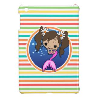 Mermaid on Bright Rainbow Stripes iPad Mini Case