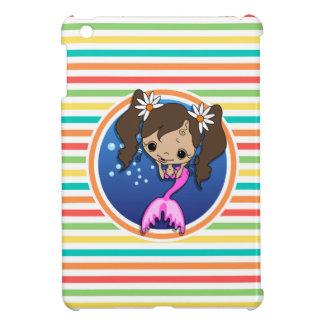 Mermaid on Bright Rainbow Stripes iPad Mini Covers