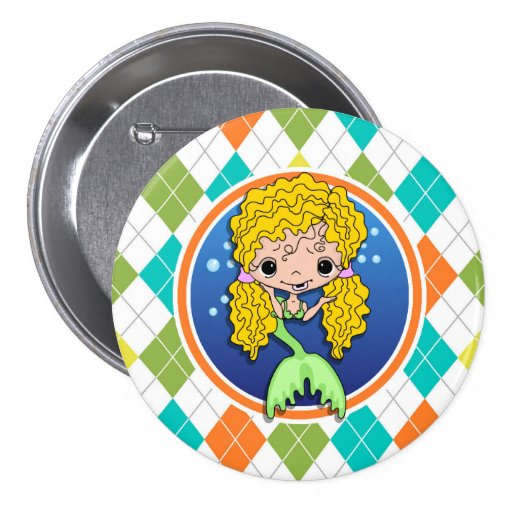 Mermaid on Colorful Argyle Pattern Pins