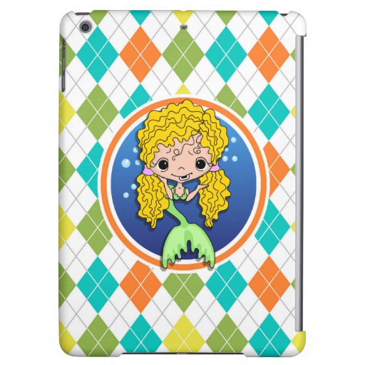 Mermaid on Colorful Argyle Pattern iPad Air Cover