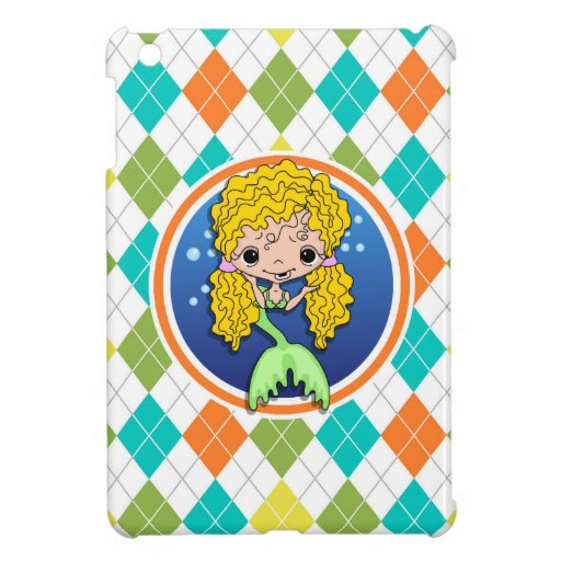 Mermaid on Colorful Argyle Pattern Cover For The iPad Mini
