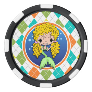 Mermaid on Colorful Argyle Pattern Poker Chips Set