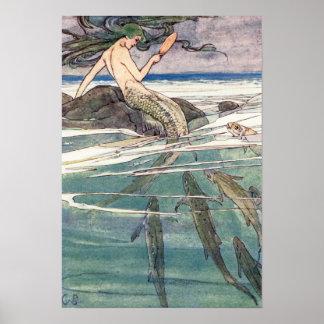 Mermaid on Marooners' Rock by Alice B. Woodward Poster