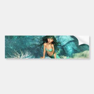 Mermaid on Ocean Floor  Bumper Sticker Car Bumper Sticker
