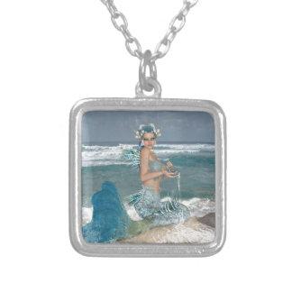 Mermaid on Rock Square Pendant Necklace