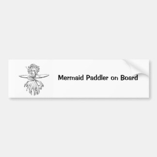 Mermaid Paddler on Board Bumper Sticker