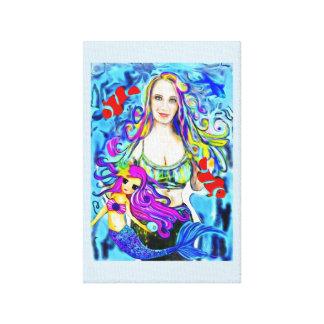 Mermaid Painting, Portrait, Beautiful girl custom Canvas Print