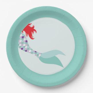 Mermaid Paper Dinner Plate 9 Inch Paper Plate
