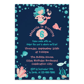Mermaid Party | Girl's 6th Birthday Party Card
