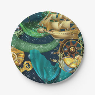 Mermaid Party Plates 7 Inch Paper Plate