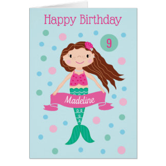 Mermaid Personalized Age & Name Birthday Card