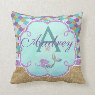 Mermaid Personalized Monogram Pillow Name