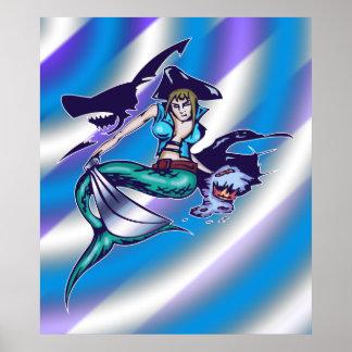 Mermaid Pirate Print and Poster