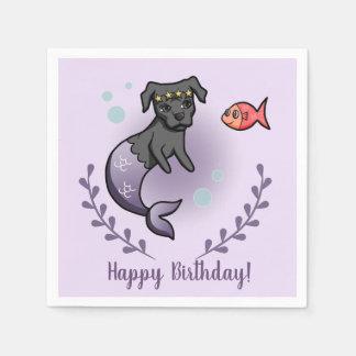 Mermaid Pit Bull 2 Birthday Disposable Serviette