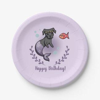 Mermaid Pit Bull 2 Birthday Paper Plate