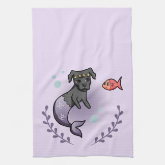 Mermaid Pit Bull 2 Tea Towel
