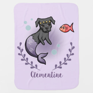Mermaid Pit Bull 2 with Name Baby Blanket