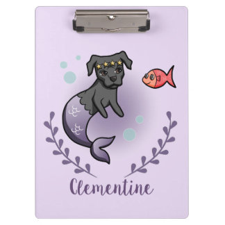 Mermaid Pit Bull 2 with Name Clipboard