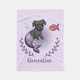 Mermaid Pit Bull 2 with Name Fleece Blanket