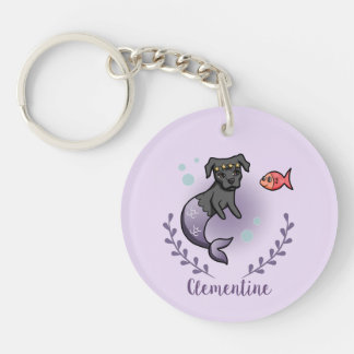 Mermaid Pit Bull 2 with Name Key Ring