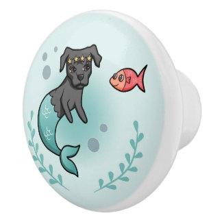 Mermaid Pit Bull Ceramic Knob
