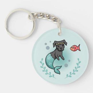 Mermaid Pit Bull Key Ring