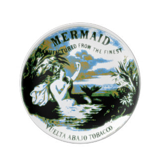 Mermaid Porcelain Plate on a Old Cigar Ad