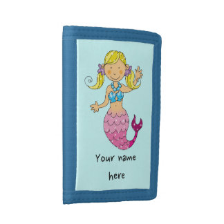 mermaid princess (blonde hair) trifold wallet