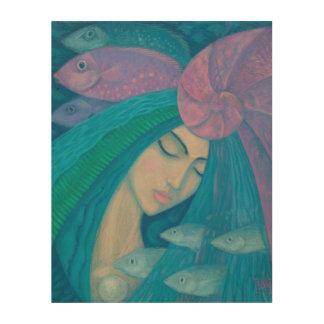 Mermaid Princess, Underwater Fantasy, Pink Blue Wood Canvases