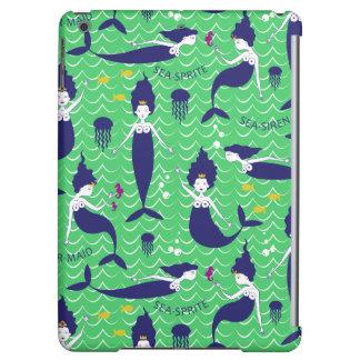 Mermaid Printed Ipod Air case in green/navy