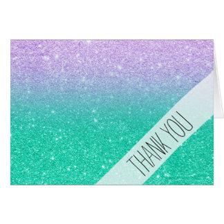 Mermaid purple teal aqua glitter ombre gradient card