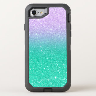 Mermaid purple teal aqua glitter ombre gradient OtterBox defender iPhone 8/7 case