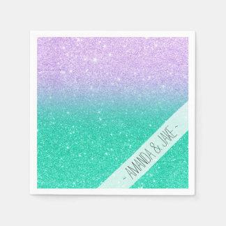 Mermaid purple teal aqua glitter ombre gradient paper napkins
