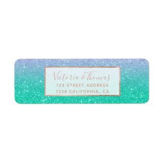 Mermaid purple teal aqua glitter ombre gradient return address label