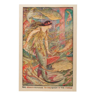 Mermaid Queen of the Fishes Wood Prints
