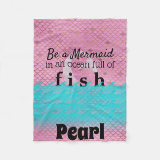 Mermaid Quote Personalized Name Aqua Pink Scales Fleece Blanket
