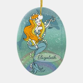 Mermaid Rainbow and Dolphin Illustration Design Ceramic Ornament