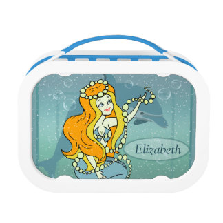 Mermaid Rainbow and Dolphin Illustration Design Lunch Box