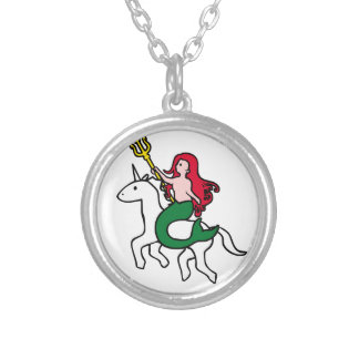 Mermaid Riding Flying Unicorn Silver Plated Necklace
