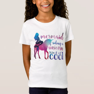 Mermaid Riding Unicorn Colourful cool quote T-Shirt