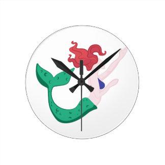 Mermaid Round Clock